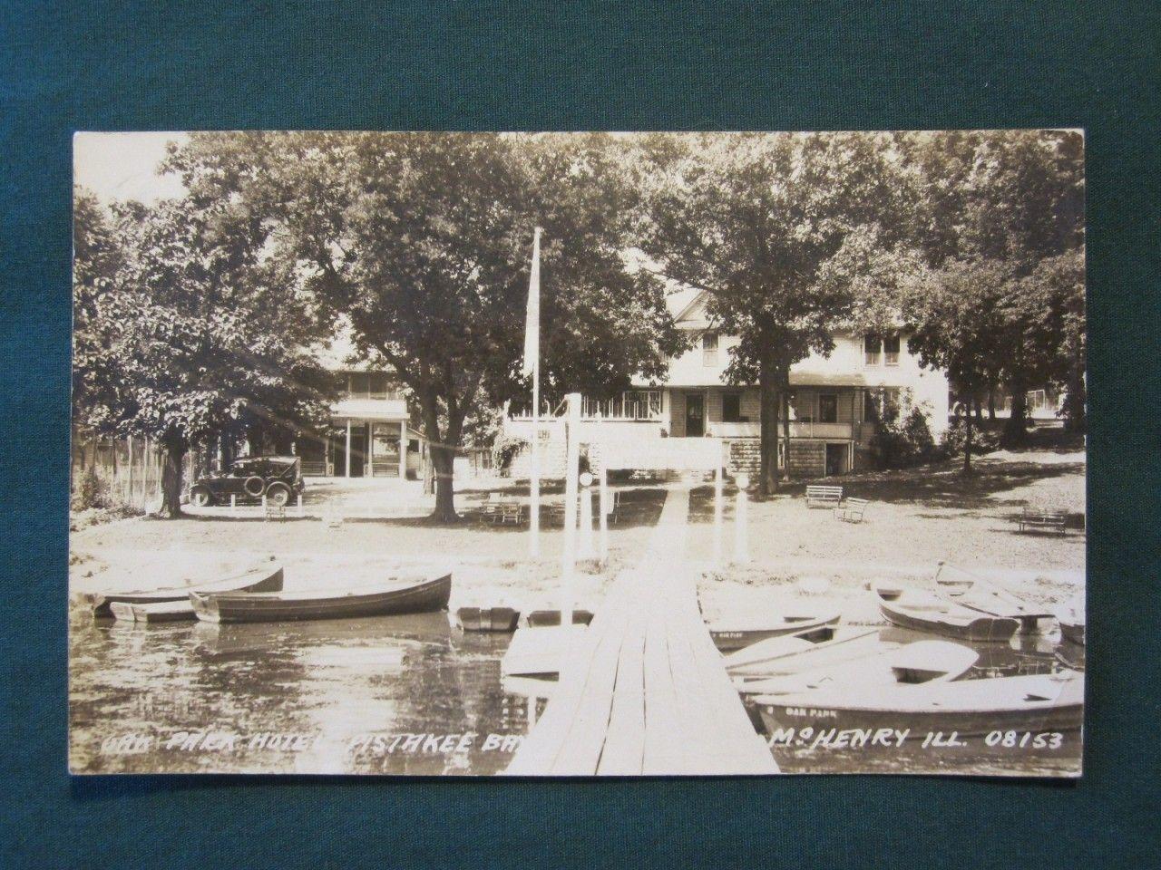 Oak Park Hotel Pistakee Bay Mchenry Il Rppc Postcard C1931