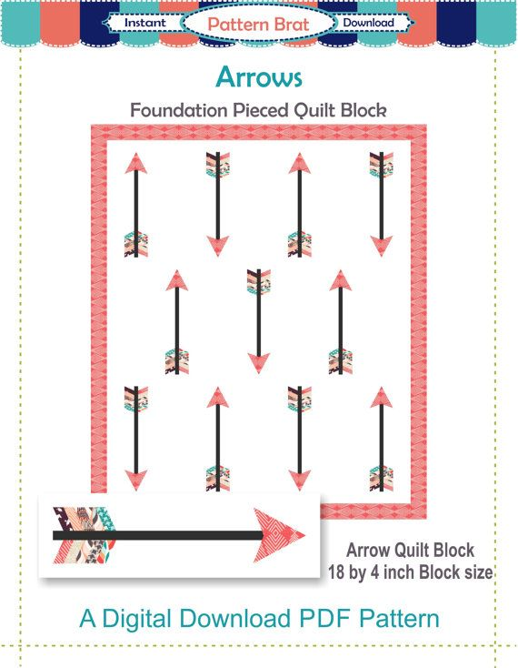 Arrow Quilt Block Pattern Instant Download Paper By