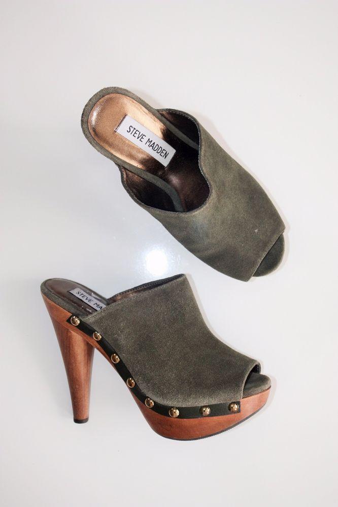 6d5fb4439a5 STEVE MADDEN DAYNTY CLOGS Green Suede Wooden Heels Boho Hippie 70 s Shoes  6.5  SteveMadden  PlatformsWedges  Any