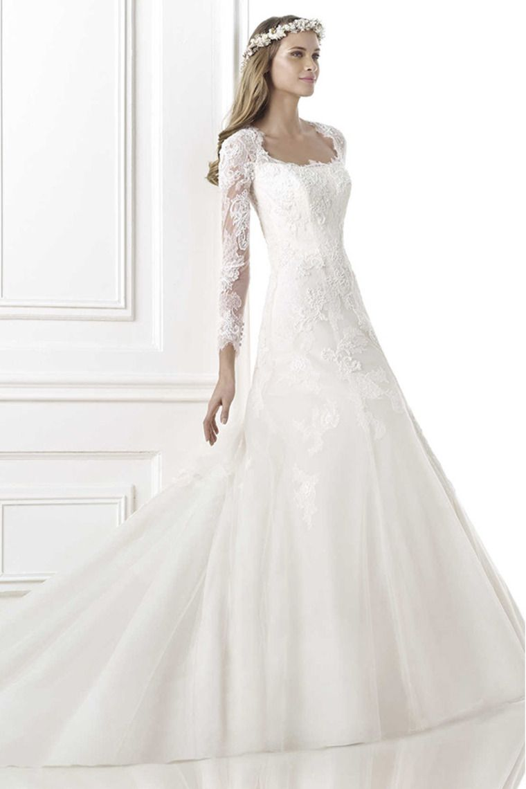 passionate wedding dress square full sleeves sheathcolumn with
