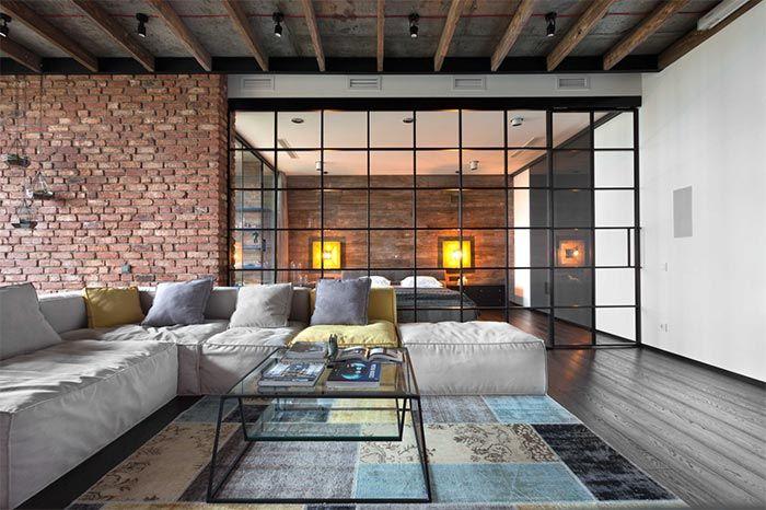 Un loft moderno y masculino con un jardín vertical · A modern and masculine loft with a vertical garden