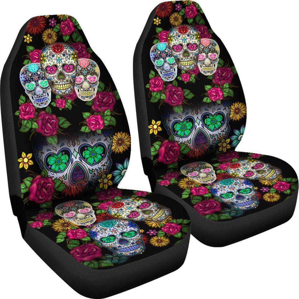 Terrific Buy Sugar Skull Black Themed Car Seat Covers Set Of 2 Evergreenethics Interior Chair Design Evergreenethicsorg