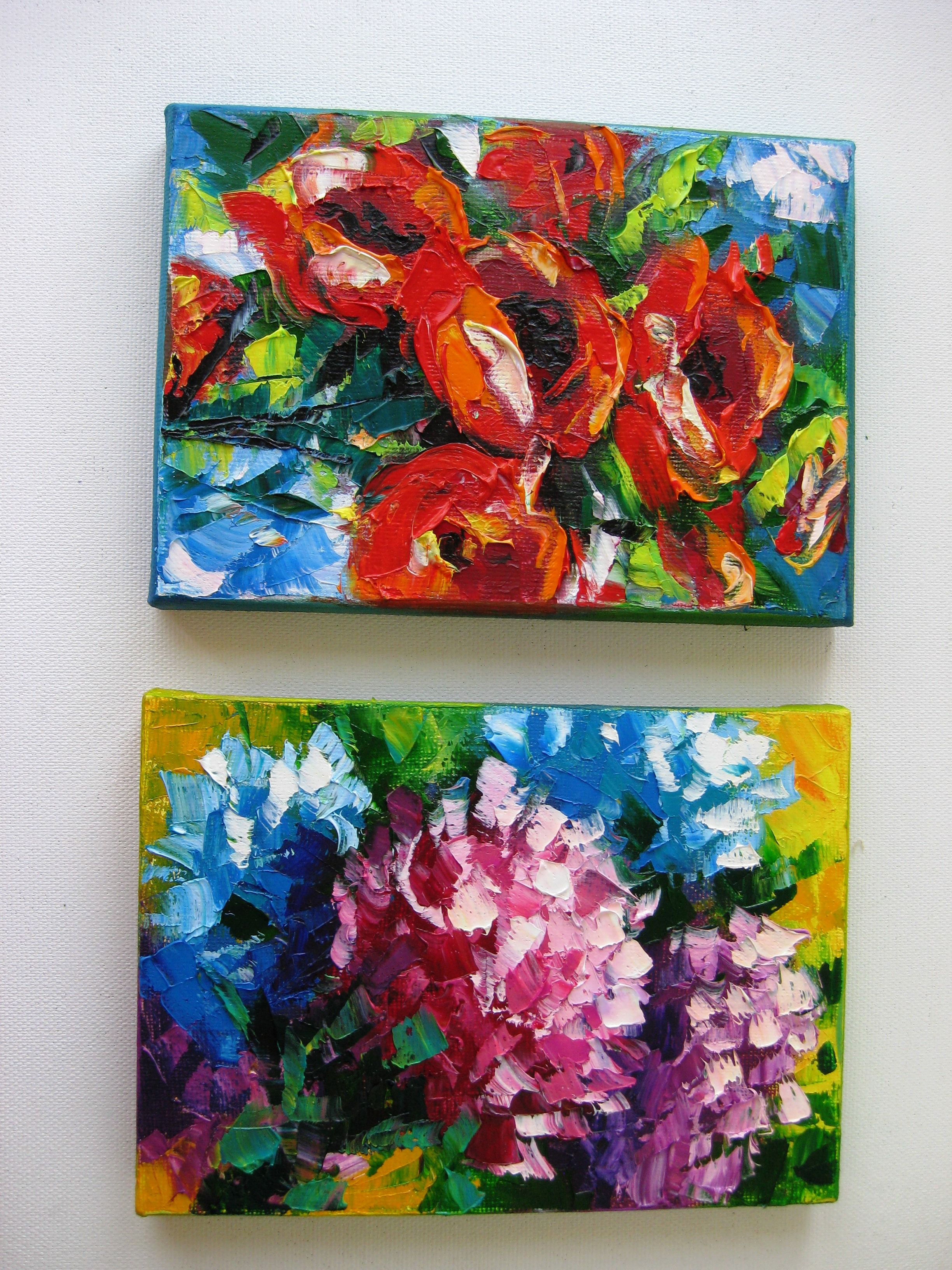 Small canvas painting. Palette knife flowers. Oil on