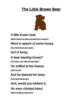 A simple poem with movements for the children to do along with ...
