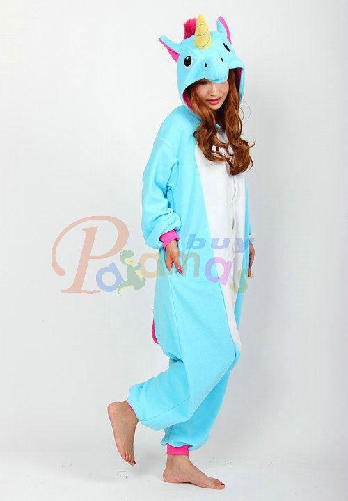 Blue Unicorn Cartoon Onesies Pajama Cosplay Costume Long Sleeve Hoddie - Pajamasbuy