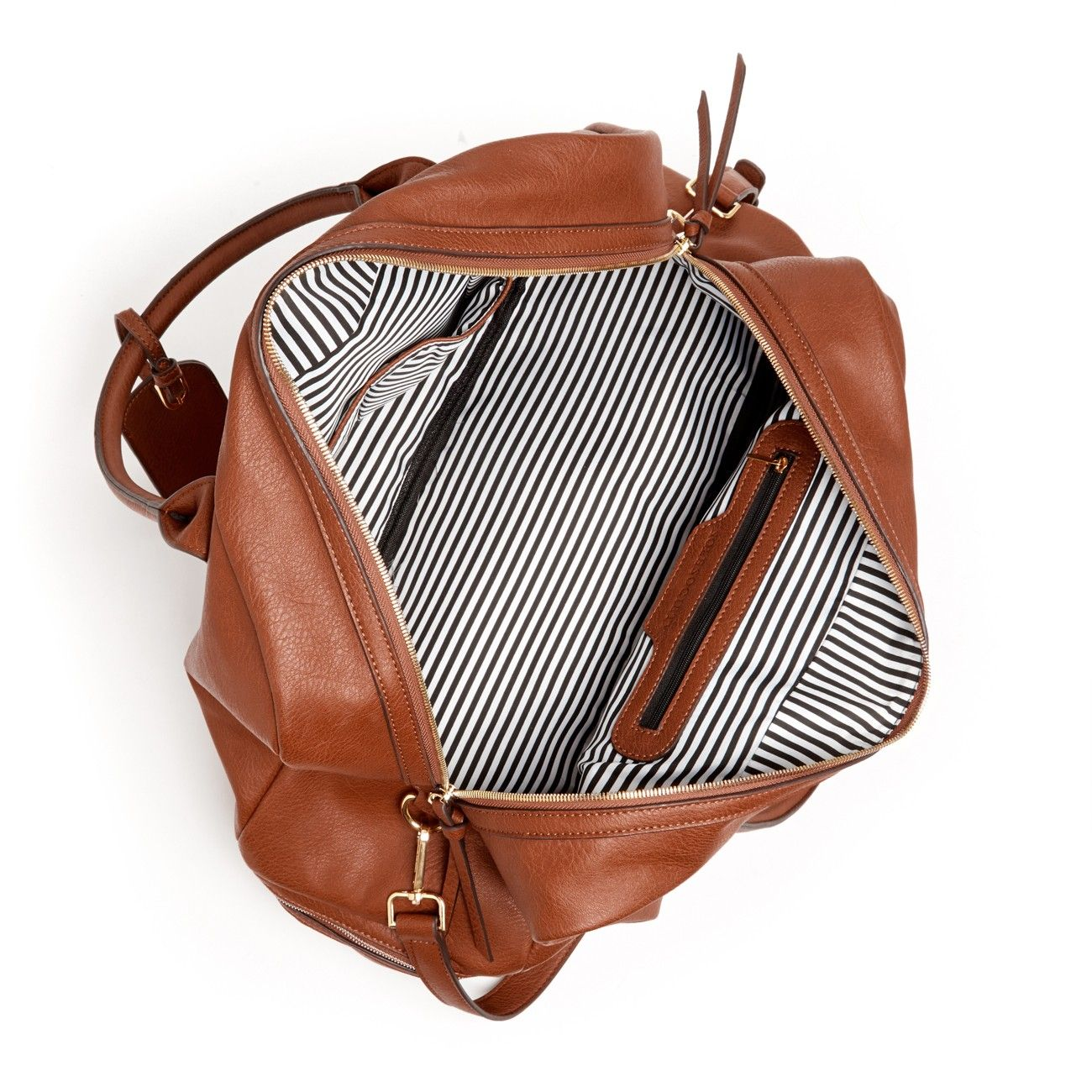 Classic Leather Travel Bag with Stripe Lining - great size, great compartments, and not a bad price either!