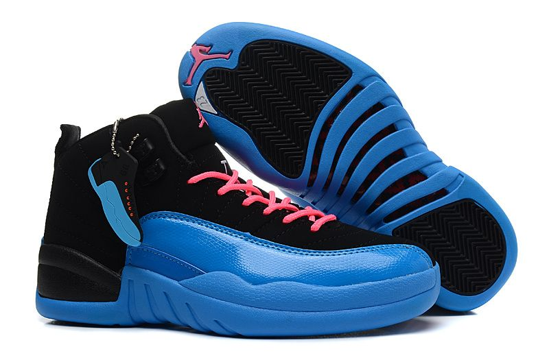 Girls Air Jordan 12 GS Black Blue Pink For Womens Onlline For Sale Women  Air Jordan