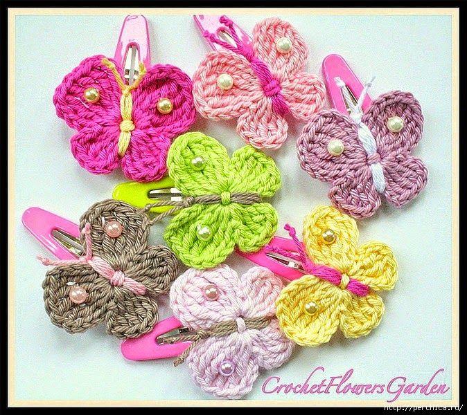 Mariposas de primavera tejidas al crochet - con patrones   Crochet y ...