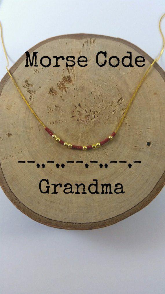 Photo of GRANDMA Morse Code Halskjeder, Secret Message, Dainty halskjede, Minimalistisk, Morse Code smykker, gull halskjede, bestemor gave
