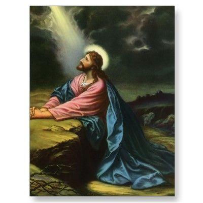 Vintager Jesus Christus Beten In Gethsemane Postkarte Zazzle De Jesus Bilder Jesus Christus