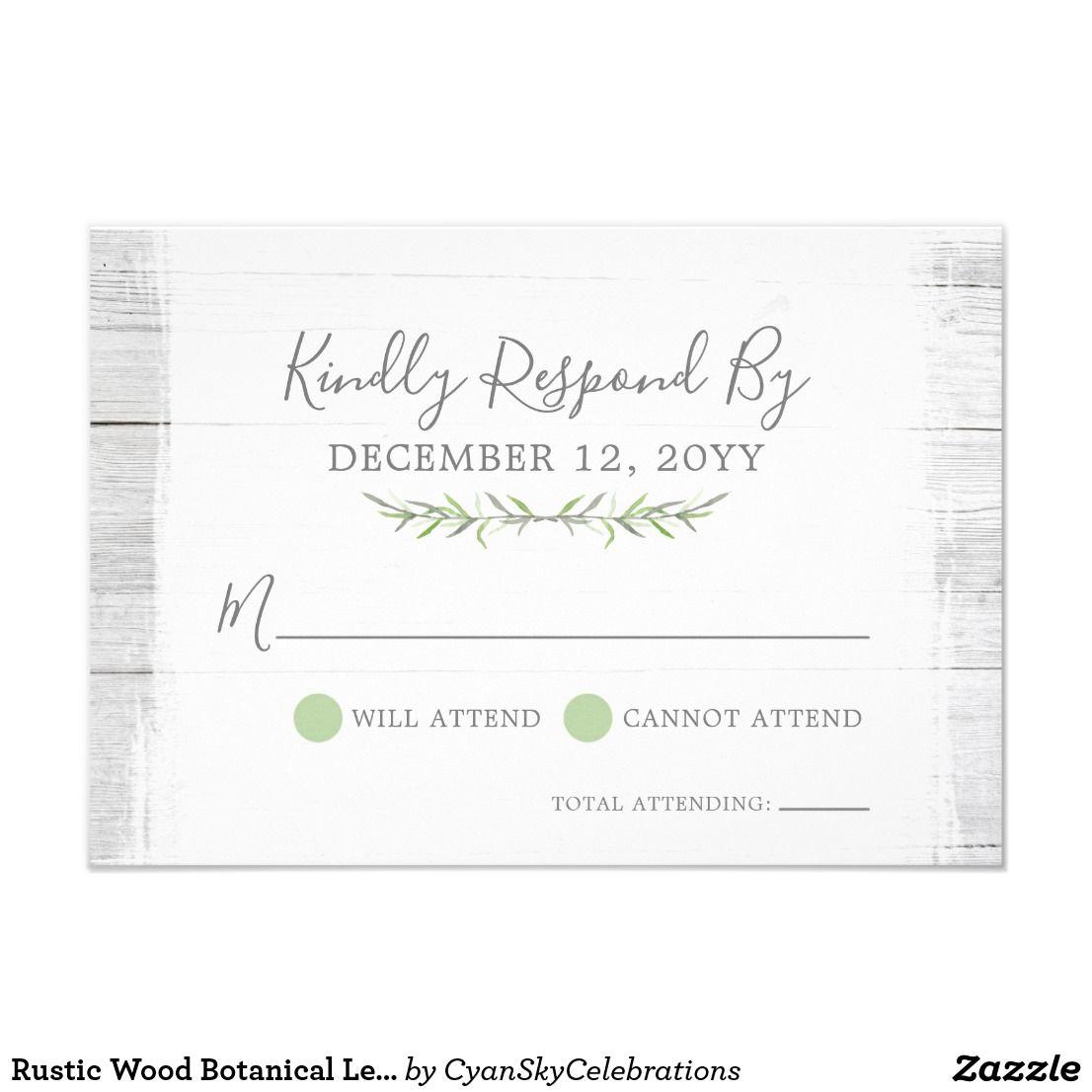 Rustic Wood Botanical Leaf Wedding Invitation RSVP by ...
