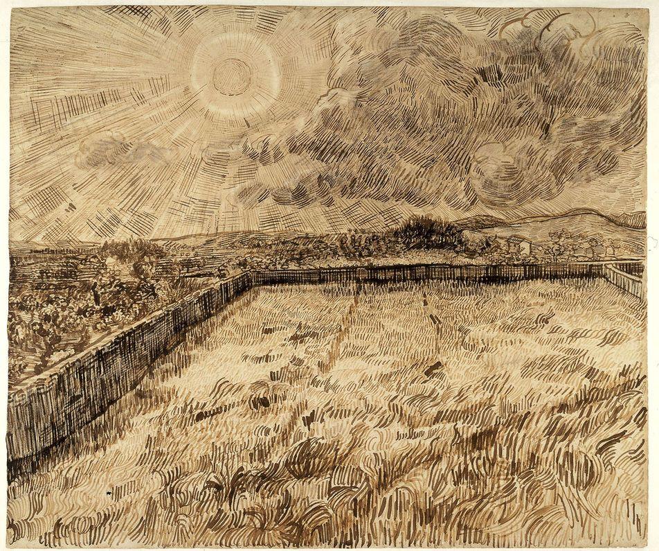Vincent Van Gogh, Champ de blé clôturé sous le soleil et les nuages, mai-juin 1889, pierre noire et calame, encre et aquarelle blanche opaque sur papier vergé.
