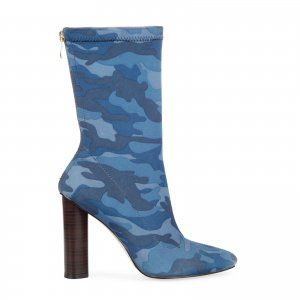 Cammile Blue Camouflage High Ankle Boot