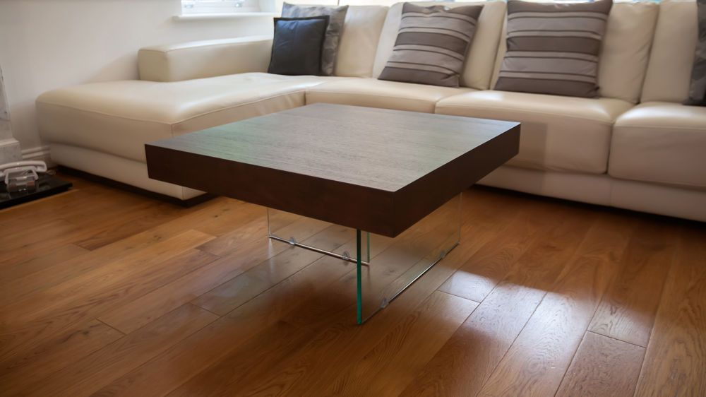 Etonnant Modern Dark Wood And Glass Small Coffee Table