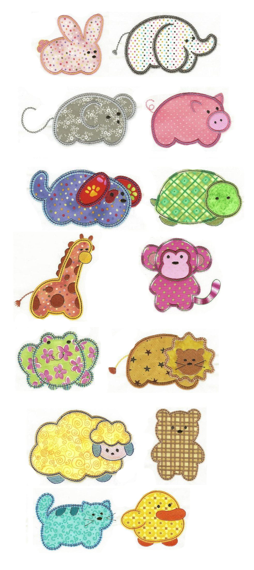 Simply Sweet Applique Animals design set available for instant