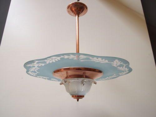 ART DECO Jugendstil Deckenlampe UFO Lampe BLAU SATINGLAS