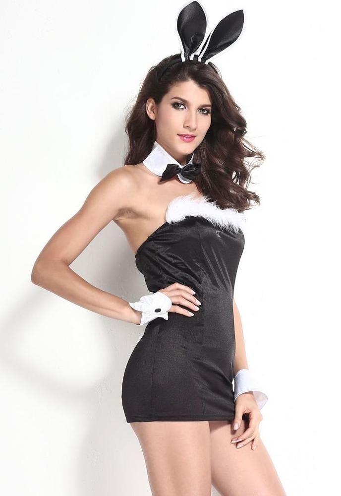 playboy bunny sexy strapless dress bow tie cuffs halloween costume 8833 - Halloween Costumes Playboy