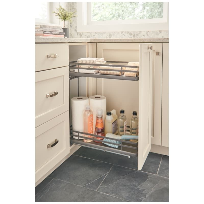 Rev A Shelf 5322 Bcsc 9 Fog Orion Gray 5322 Series 12 Inch Two Tier Pull Out Base Organizer With Two Shelves And Blumotion Slides Base Cabinets Contemporary Organization Cabinet Doors