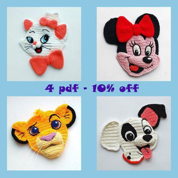 053 Amigurumi applique patterns. Crochet applique pattern. Cartoon face 3d Appliques. Crochet discount set. Kids crochet. Amigurumi pattern #mousecrafts