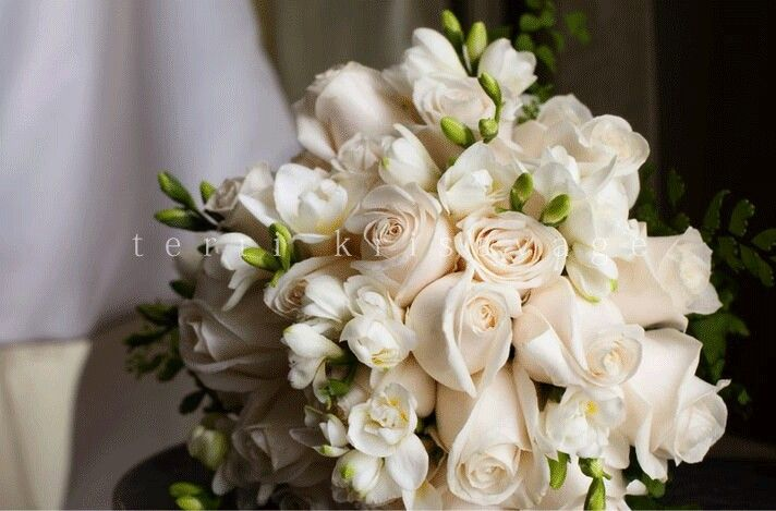 Gorgeous Bouquet Which Includes Lovely Cream Roses & White Freesia