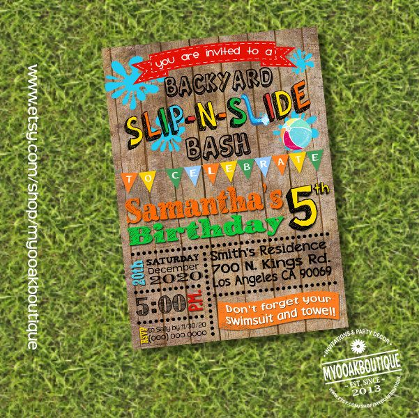 Slip N Slide Birthday Bash Invitation Waterslide Party Invite Summer Wood Digital Printable You Print 13671 By Myooakboutique On
