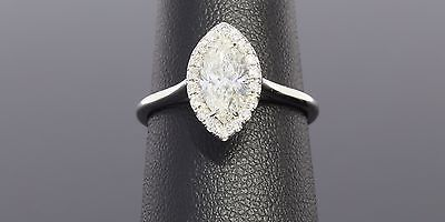 18KT WHITE GOLD 1.23CTW MARQUISE DIAMOND HALO ENGAGEMENT RING MSRP $7500