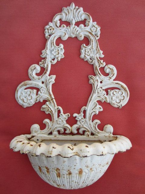 Shabby Chic Provincal Style White Metal Wall Planter Wall Planters