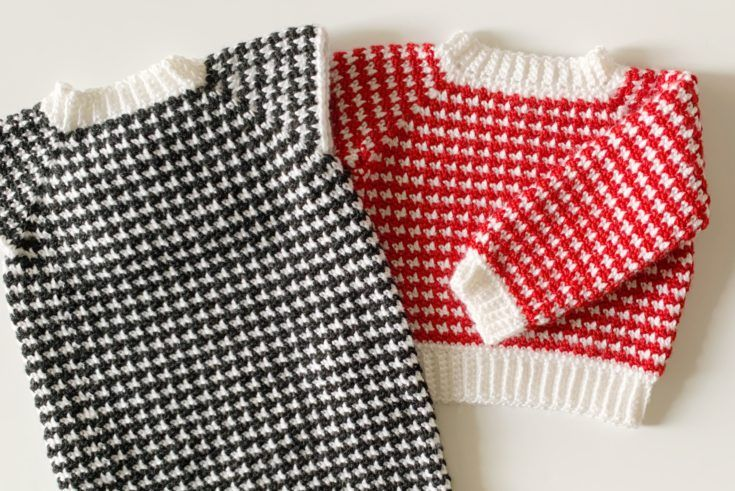 Crochet Houndstooth Baby Sweater | Daisy Farm Crafts ...