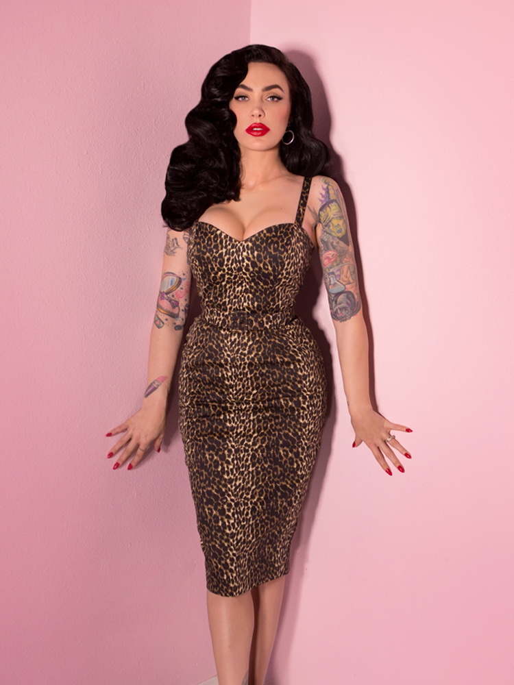 d903c02434 Sweetheart Wiggle Dress in Wild Leopard Print - Vixen by Micheline Pitt