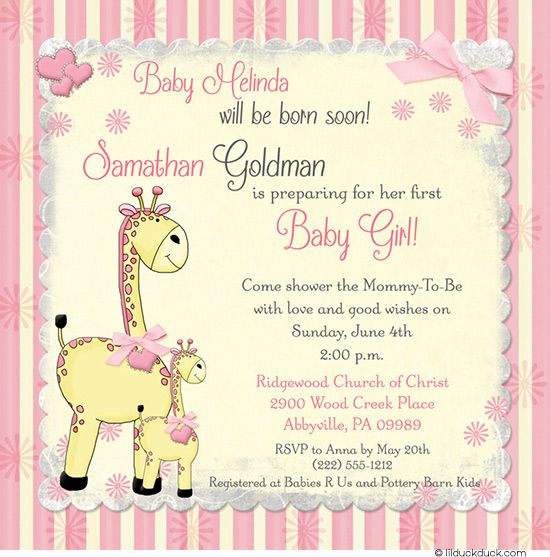Born Soon Yellow \ Pink Striped Flower Giraffe Shower Invitation - invitation card event