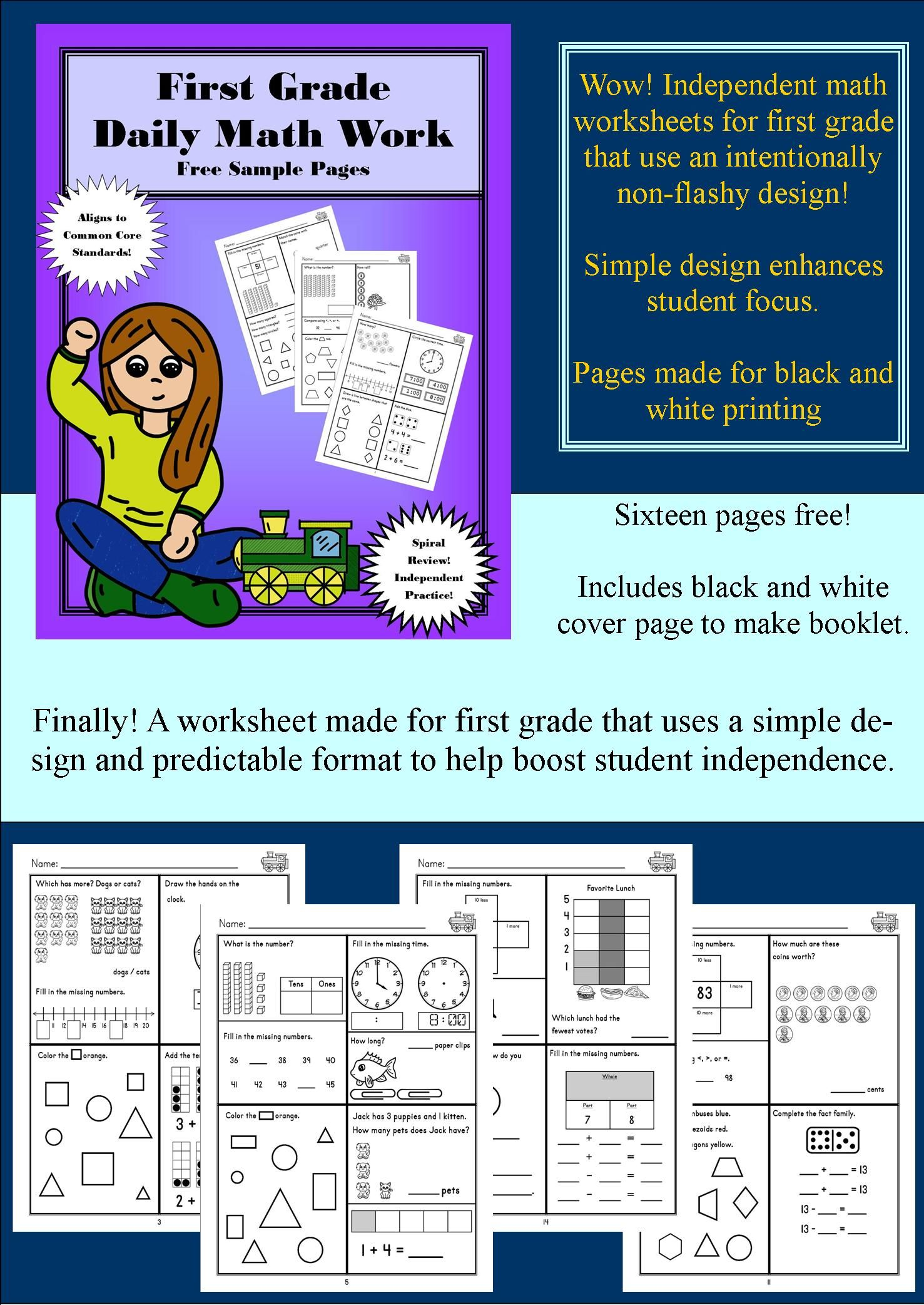 Download Some Free Pages From The Brand New Amazing First Grade Workbook Series It Features A Simple Design That Fosters Student Ind Math Work Daily Math Math [ 2084 x 1477 Pixel ]