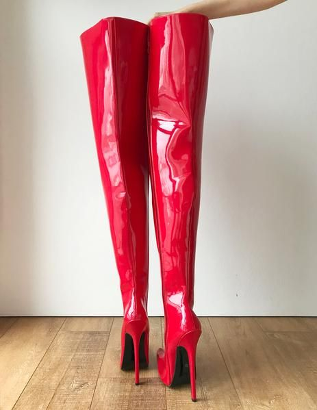 RTBU 95CM Hard Shaft Crotch Hi Laceup 18cm Stiletto Boots