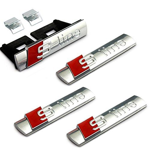 4pcs Set B252 Car Styling Silver S Line Sline Grille + Fender Side + Back Emblem Decal Badge Sticker AUDI A3 A4 A5 A6 A7 A8 Q3 Q5 Q7