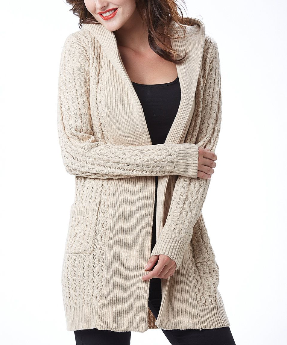 Simply Couture Beige Cable-Knit Wool-Blend Hooded Cardigan - Plus ...