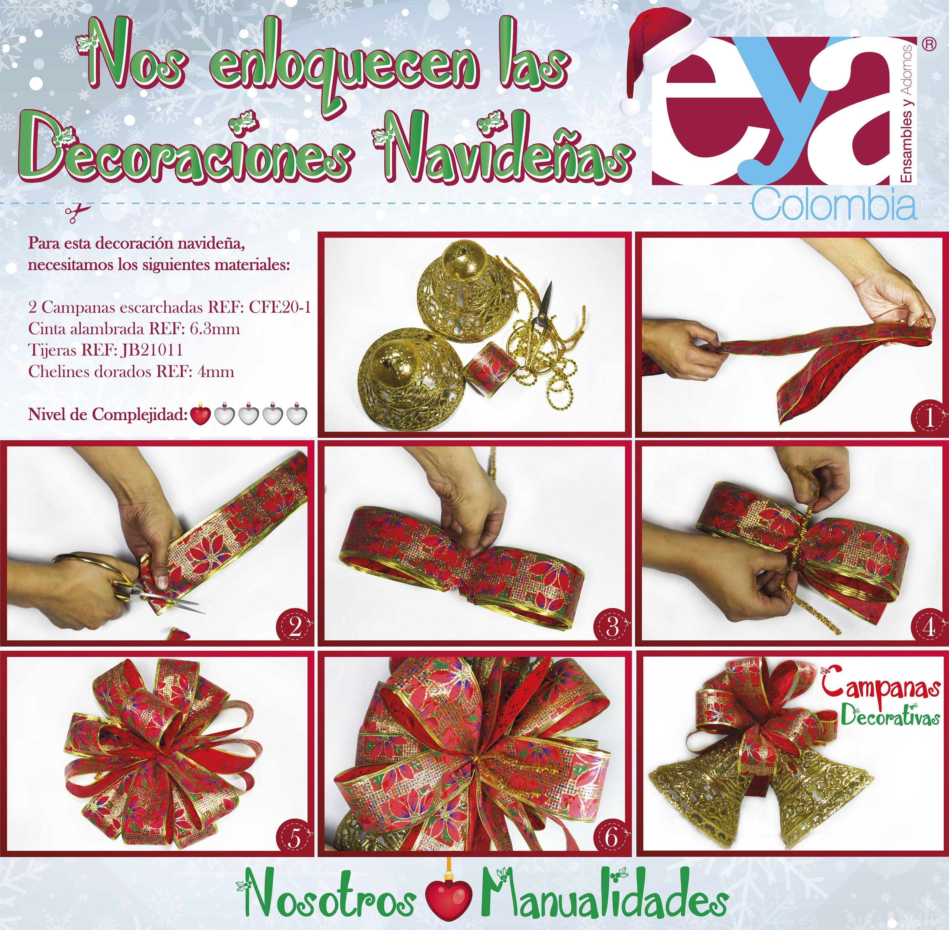 Una hermosa manualidad para esta navidad. Recuerda que encuentras todos nuestros adornos e insumos en las ciudades de Medellín, Bogotá, Villavicencio, Cúcuta y Yopal.  #EYAColombia #EnsamblesyAdornos