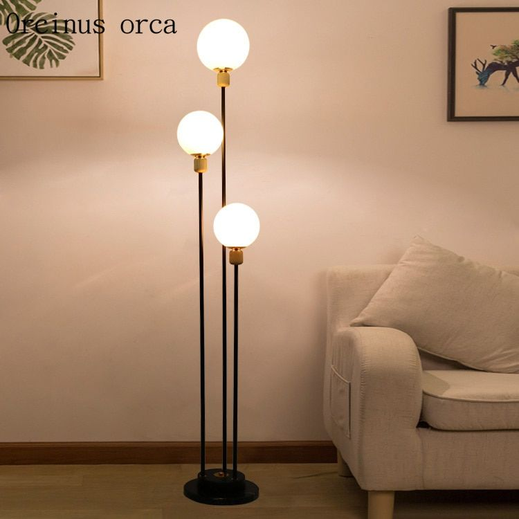 Modern Simple Glass Ball Floor Lamp Living Room Bedside Lamp Creative Personality Fashionable Long Floor Lamps Living Room Lamps Living Room Feature Floor Lamp