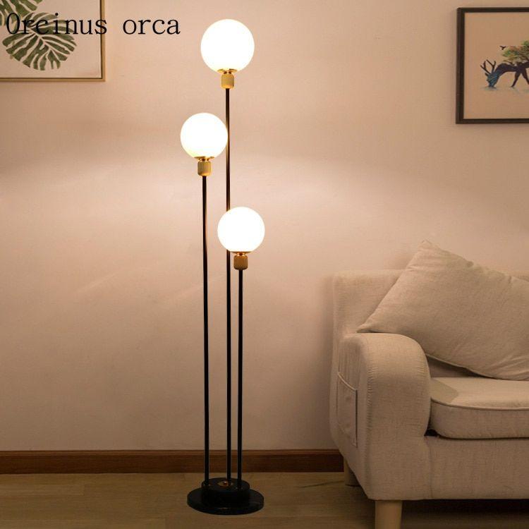 Modern Simple Glass Ball Floor Lamp Living Room Bedside Lamp
