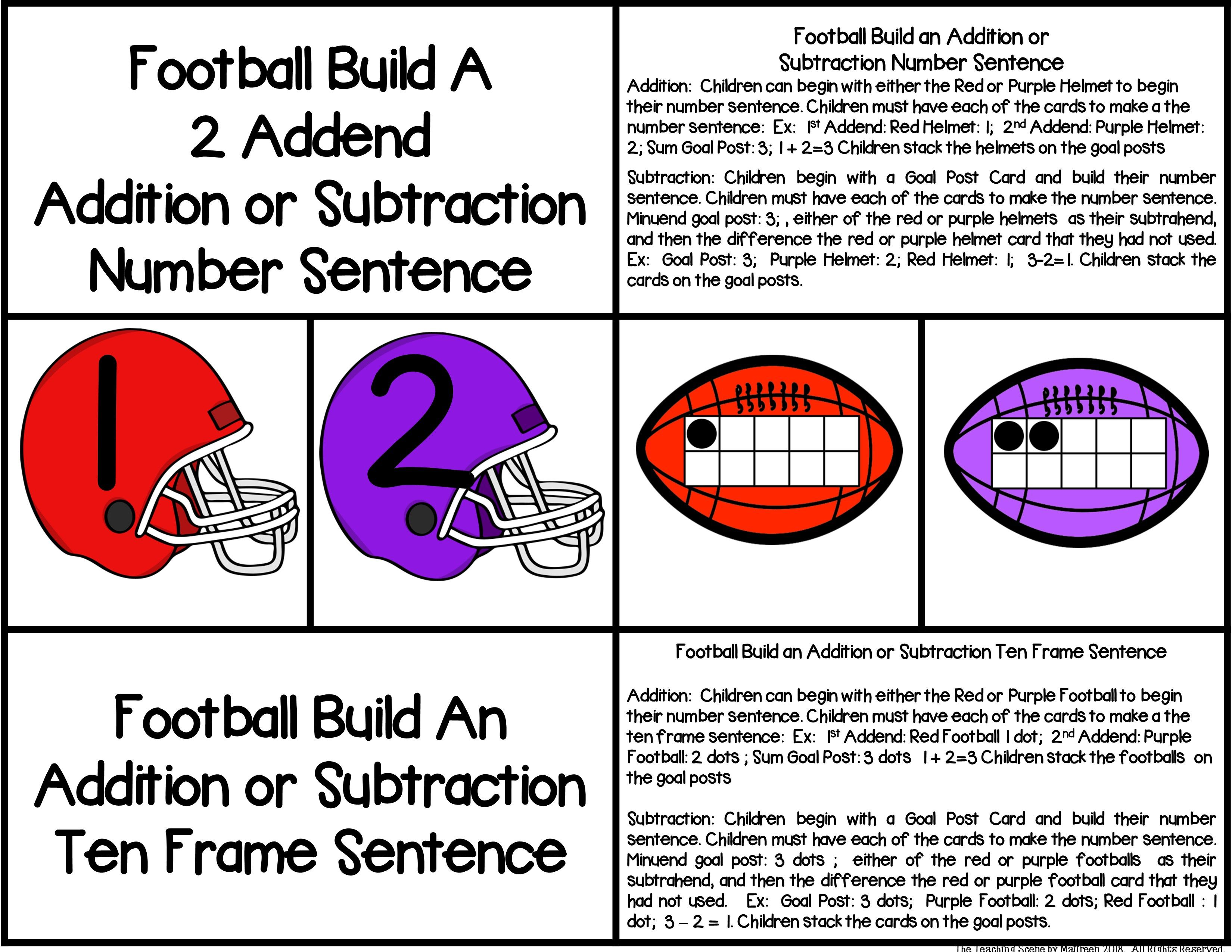 Football 2 Addend Addition Amp Subtraction With Ten Frames