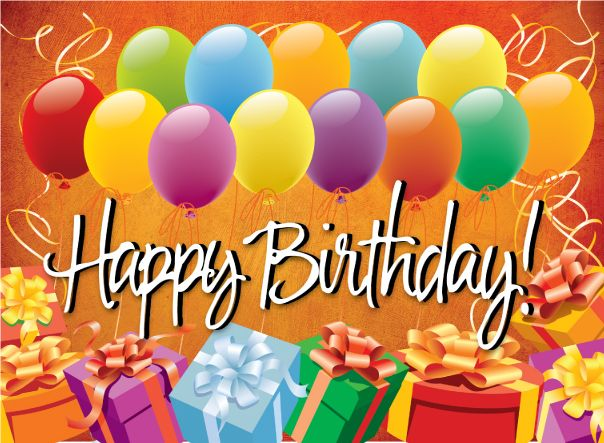 Happy Birthday with elegant balloons and gifts. Description from imageslist.c...