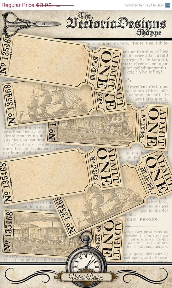 ON SALE Blank Tickets - VD0594 Cosas para comprar Pinterest - blank printable tickets