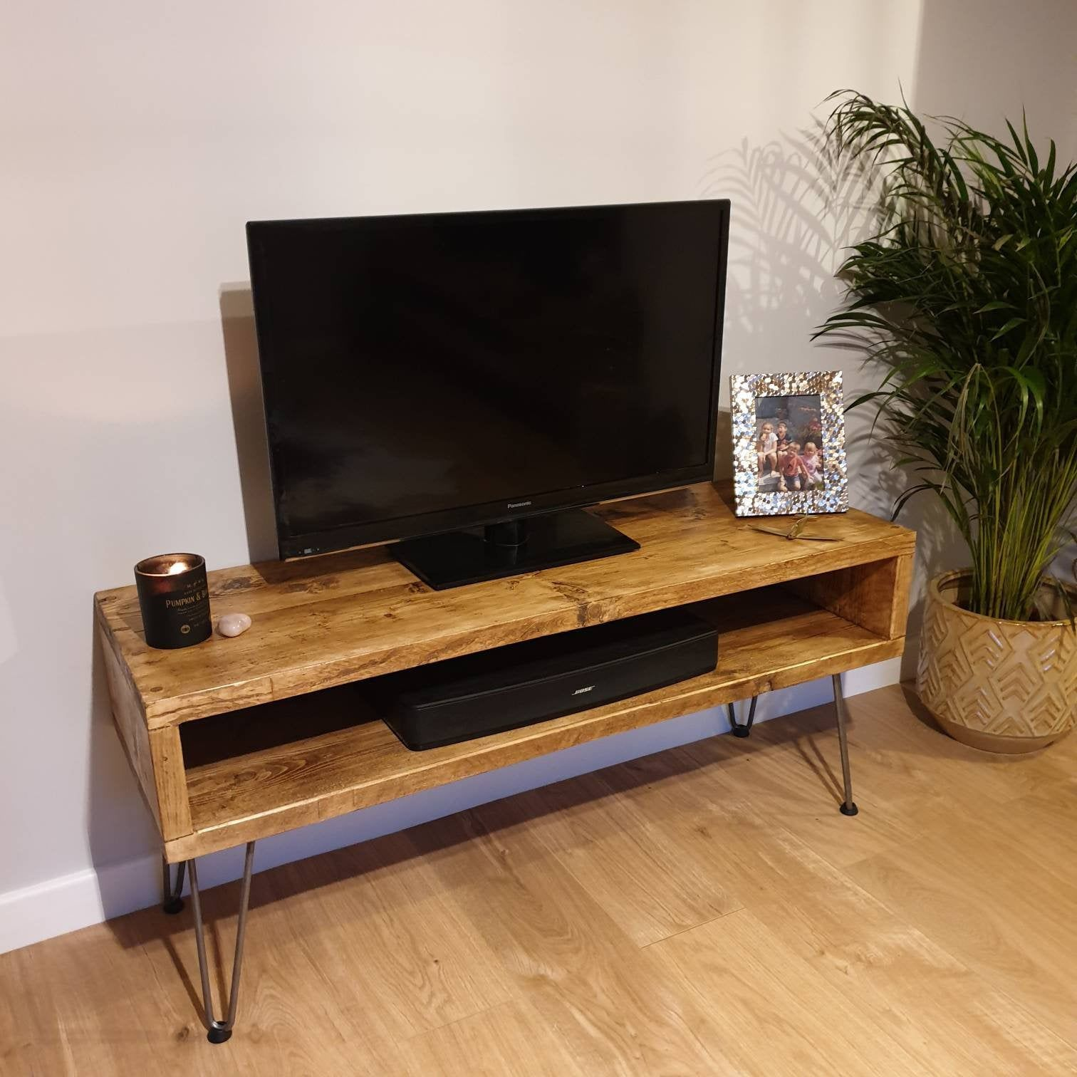 Tv Board Industrial Tv Unit Retro Berkshire- Industrial Tv Unit / Reclaimed Wood / Retro Media Console Box / Metal Hairpin Legs | Reclaimed Wood Tv Stand, Wood Tv Unit, Tv Unit