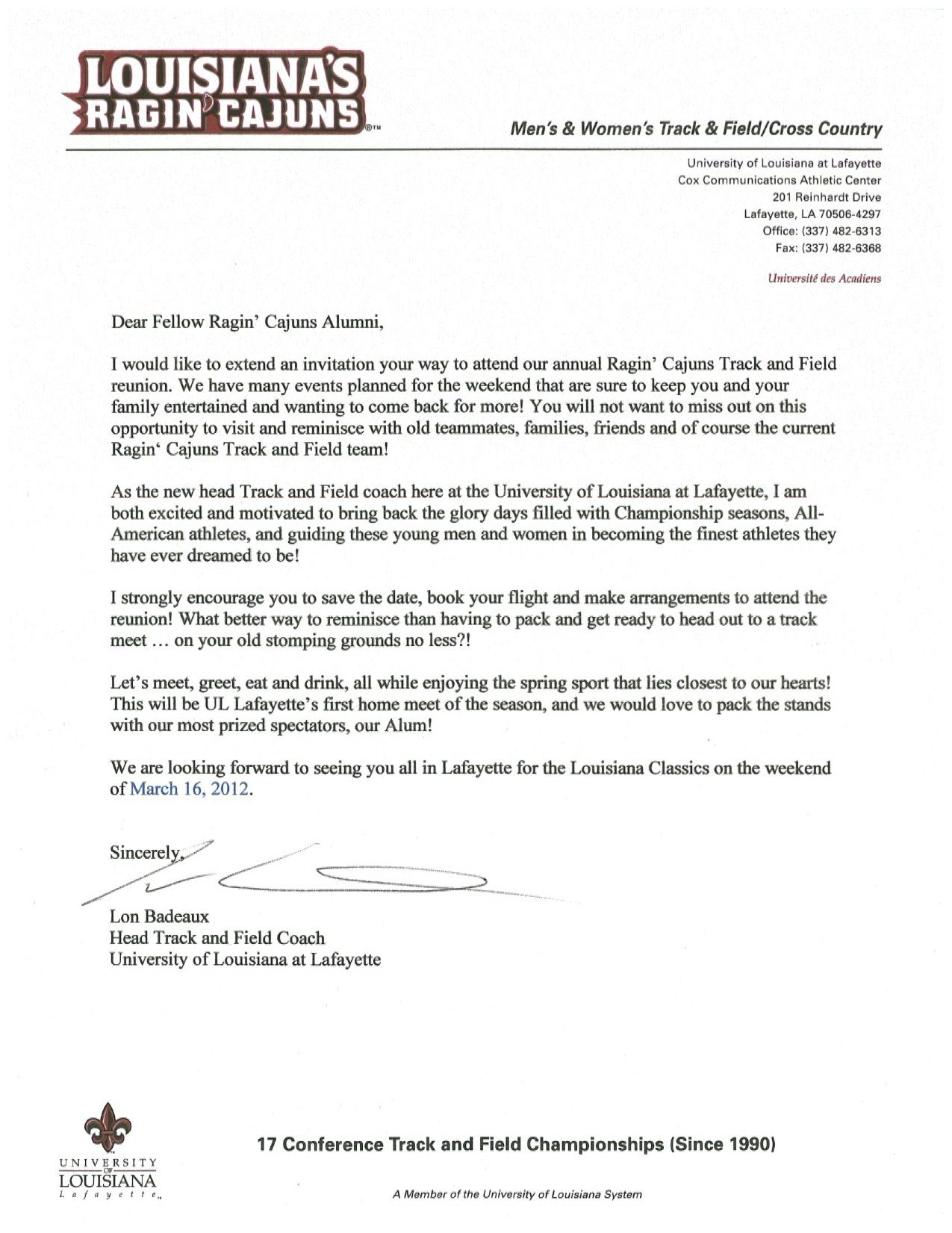 Welcome Letter From Lon Badeaux Head Track And Field CoachWelcome Letter  Business Letter Sample