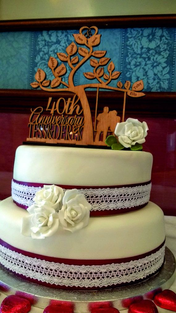 Happy 40 th anniversary cake topper Wedding Couple in a