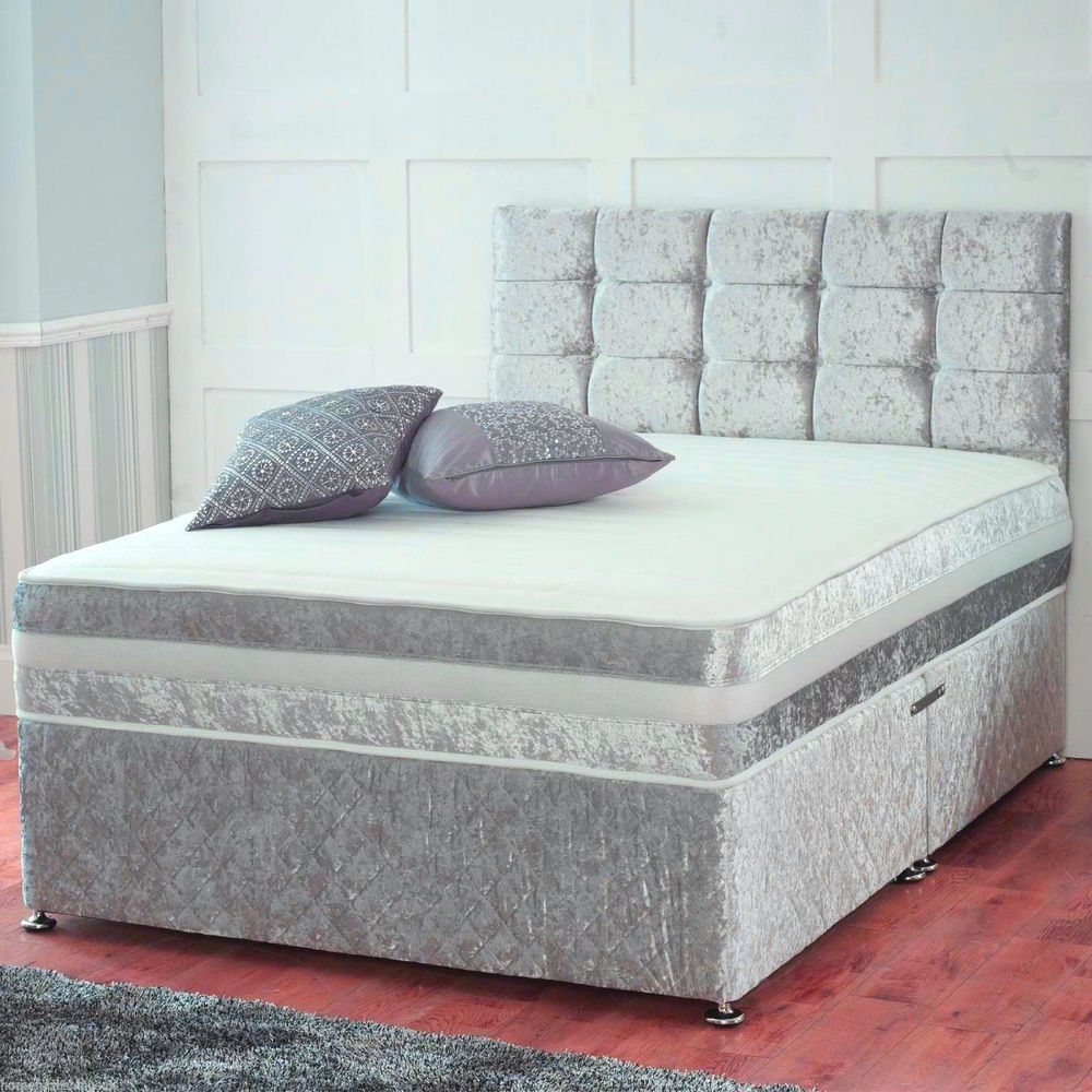 Double Divan Beds Details About Crushed Velvet Divan Bed With Under Bed Storage