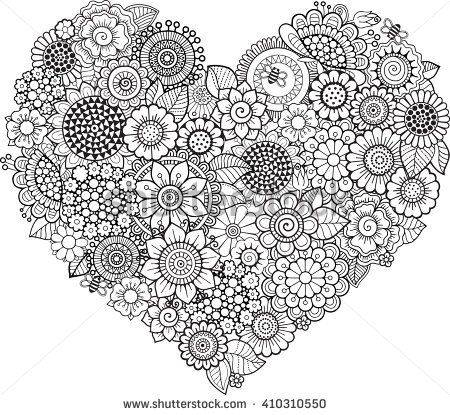 Heart Shaped Doodle Pattern Vector Elements Coloring Book For Adult