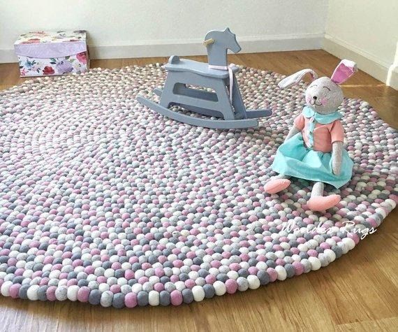 Nursery Rug Pom Pom Carpet Felt Ball Rug For Girl Room