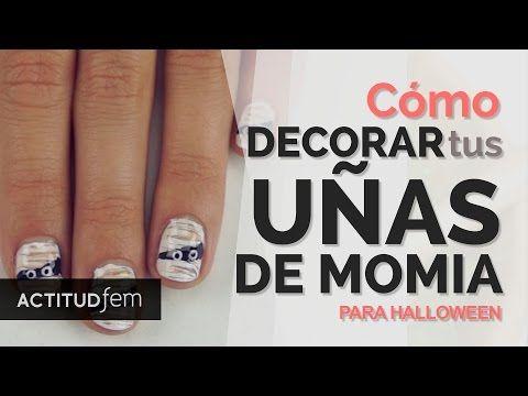 Uñas decoradas de momia para Halloween - YouTube