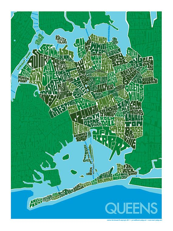 Map New York Queens Neighborhoods.Queens Neighborhood Type Map Print Post It Map Of New York
