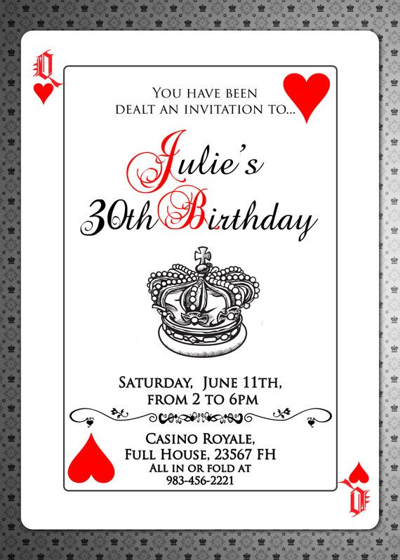 Playing Cards Invitation Invite