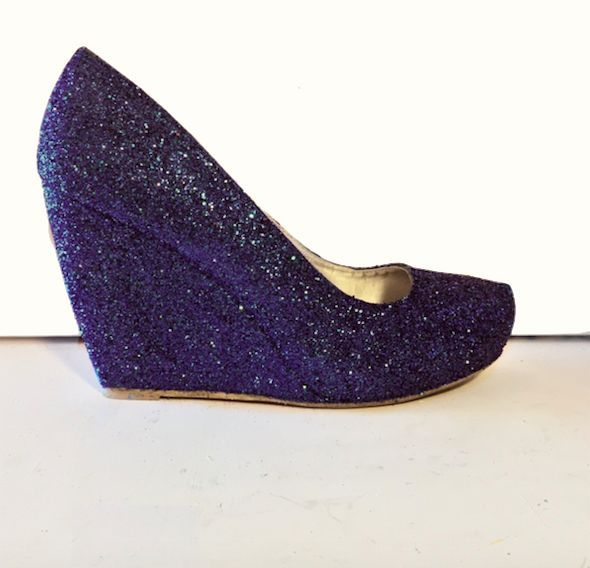 Women s Sparkly Navy Blue Glitter wedge Heels wedding bride prom shoes  Personalized -GLITTER SHOE CO b0a883b87